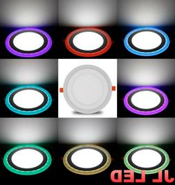 Dual Color White RGB LED Ceiling Light Fans Recessed Panel D