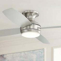 "52"" Casa Elite Brushed Nickel LED Hugger Ceiling Fan"