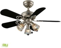 Indoor Brushed Steel Ceiling Fan With 3 LED Frosted Glass Li