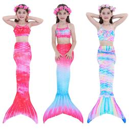 Kids Girls Swimsuit Swimmable Mermaid Tail Swimming Tropical