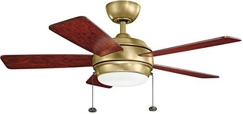 "Kichler Starkk Ceiling Fan with Lights, 42"", Natural Brass"
