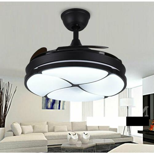 "42"" Ceiling Fan Chandelier LED Light Remote Retractable 4 Bl"