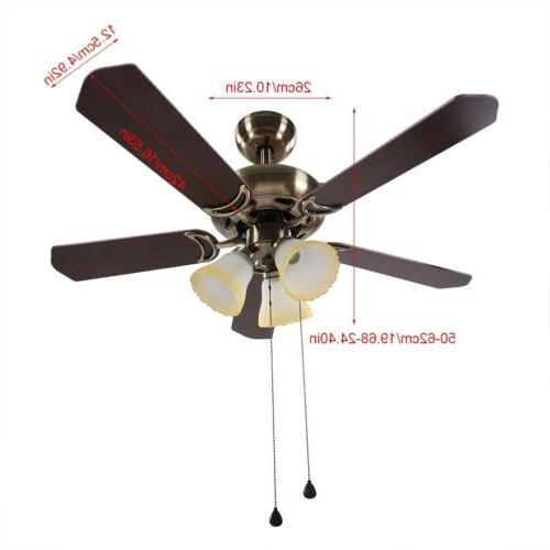 """42""""/52"""" LED Fan Light Retractable Dimmable +"""