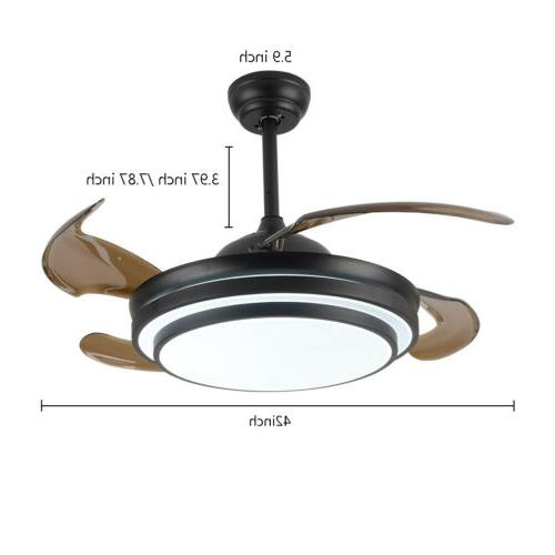 "42"" Ceiling Light w/ LED Retractable + Remote BLK"
