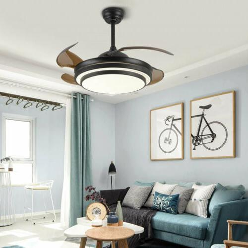 "42"" Dimmable Fan Light Retractable Blades BLK"