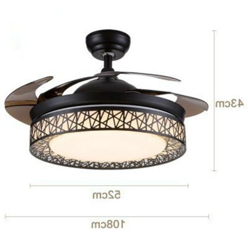 LED Ceiling Fan Light Retractable Chandelier Dimmable Speed