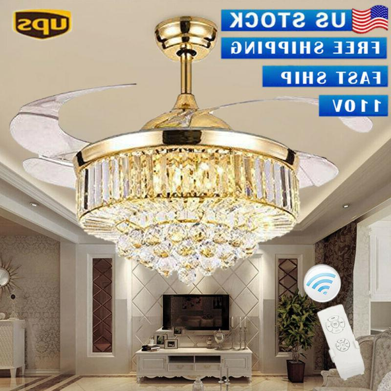 """42""""  Rose Gold Invisable Ceiling Fan Lamp Remote LED Crystal"""