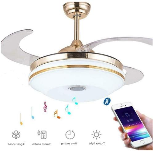 42''  LED 7-Color Bluetooth Invisible Ceiling Fan Lamp Chand