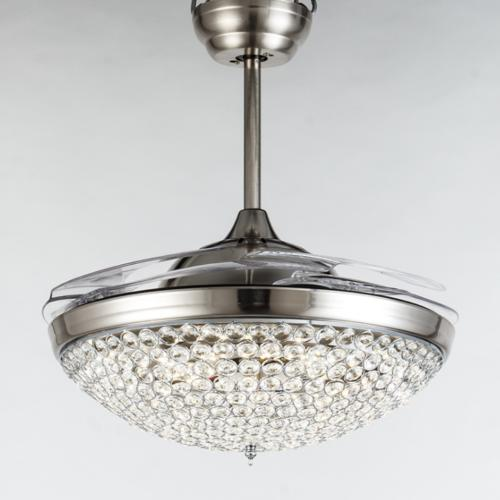 "42"" Retractable Ceiling with Modern Crystal Remote Lamps"