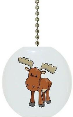 Baby Moose Animal Wildlife Solid CERAMIC Ceiling Fan Light L