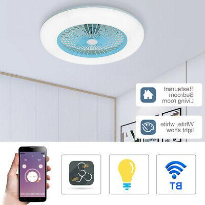 BT Smart LED Ceiling Fan Light Dimmable Remote Control Livin