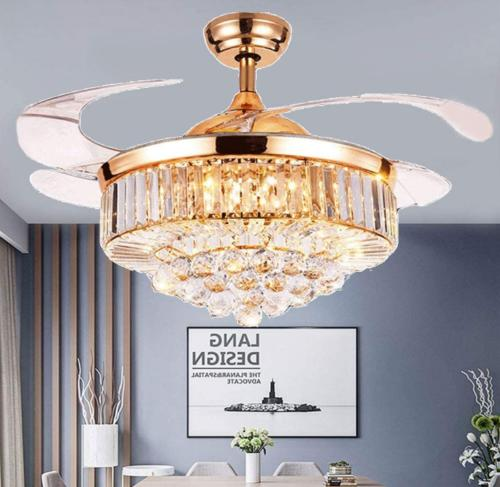 """36""""/42""""Crystal LED Chandeliers Invisible Ceiling Fan Light C"""
