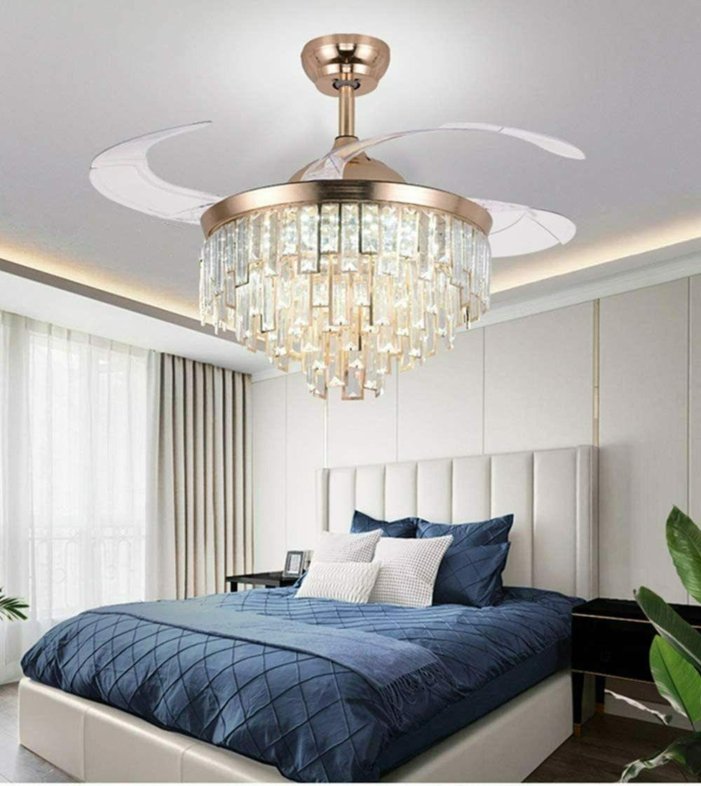 Crystal Retractable Ceiling with Light LED Chandelier Living