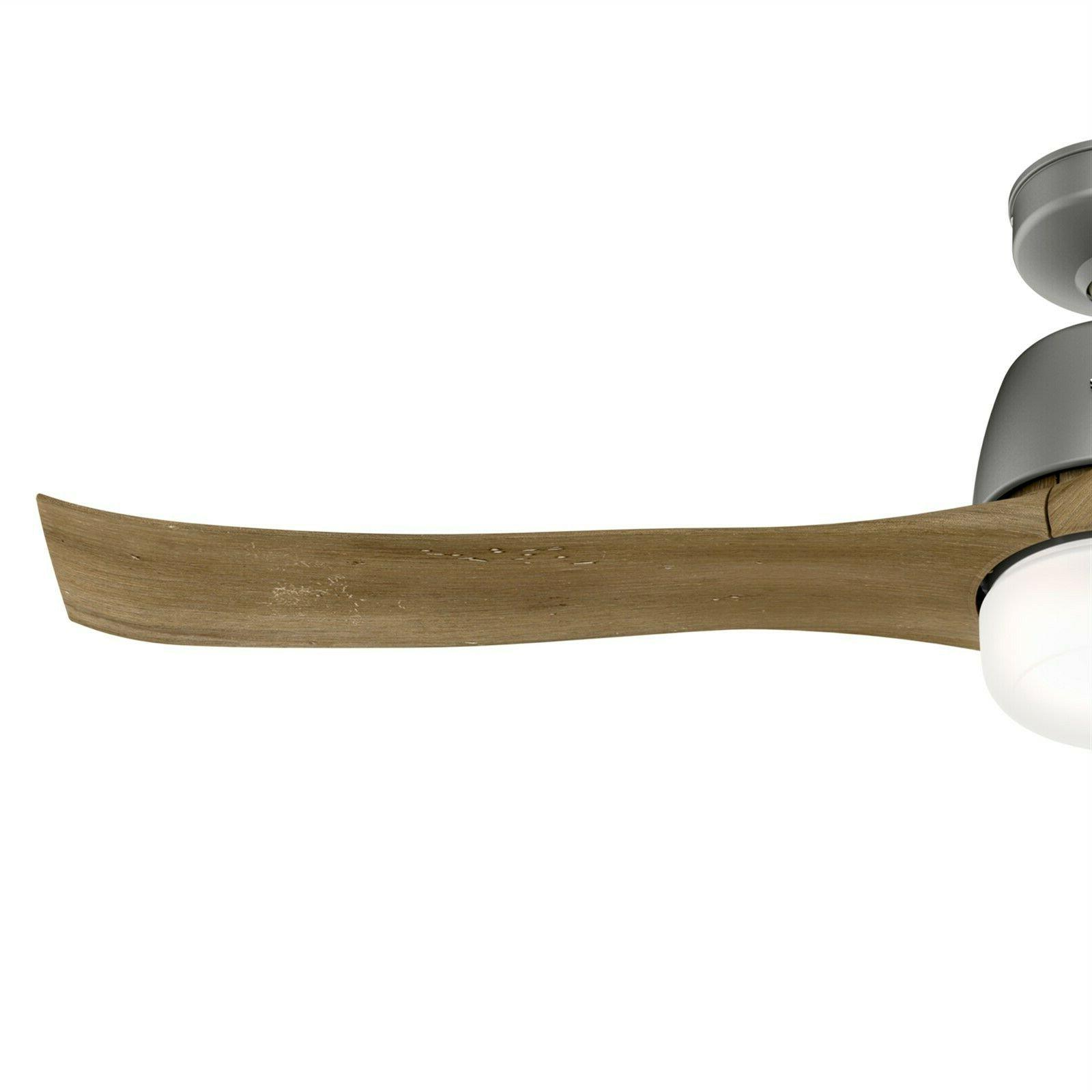 Hunter Fan 54 Contemporary Matte Silver Ceiling Fan with Light and