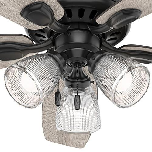 Hunter Matte Finish Contemporary Ceiling Fan with Light Kit
