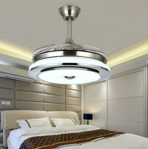 """Modern 36"""" Invisible Ceiling Fans with Dimmable LED Light"""