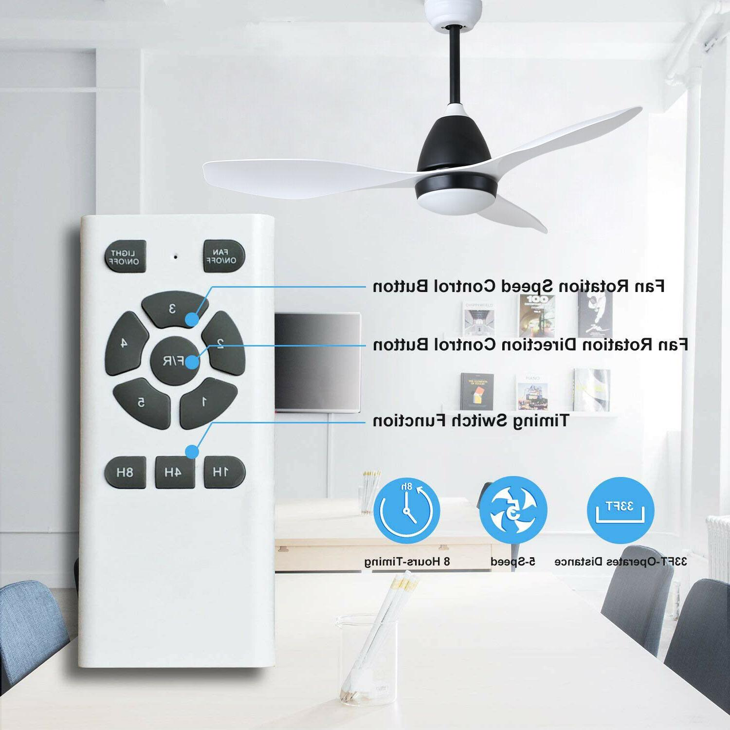 """50"""" White Ceiling Fan with Light Remote DC Motor, 3 Light"""