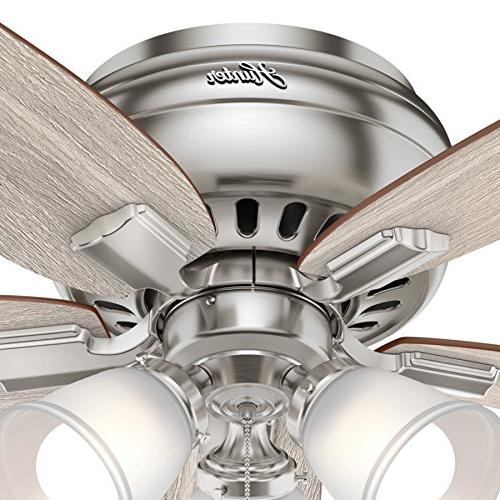 Hunter in. Profile Ceiling Fan with LED Light Brushed Nickel
