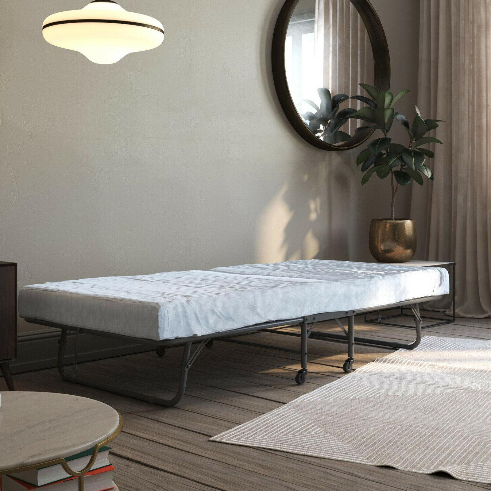 Rollaway Bed With Mattress Twin Size Folding Metal