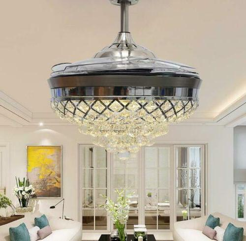 """Silver 42"""" Remote Ceiling Fans Crystal Chandelier Fixtures"""