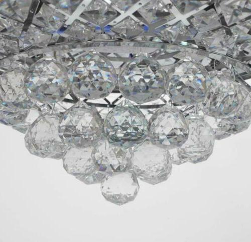 """Silver 42"""" Remote Ceiling Crystal Chandelier Fixtures"""