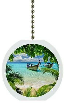 Tropical Beach Palm Tree Solid CERAMIC Ceiling Fan Light Lam