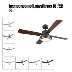 "Low Profile Ceiling Fan w/ LED & Remote UL Listed 52"" New"