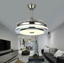 "Modern 36"" Invisible Ceiling Fans with 3-Color LED Light Fan"