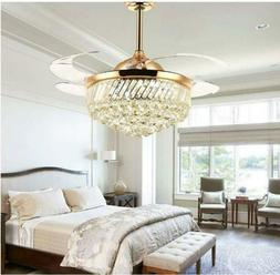 Modern 36inch Gold Crystal Ceiling Fan Light LED Dimmable Ch