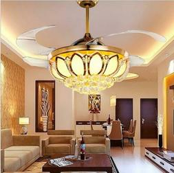 "Modern 42"" Crystal Ceiling Fan with Lights Invisible LED Rem"