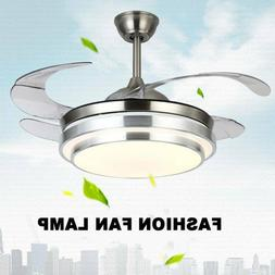 "Modern 42"" Invisible Ceiling Fans with 3-Color LED Light Fan"