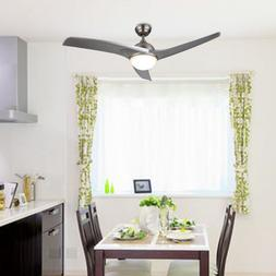 Modern Ceiling Fan w/ LED Panel Light & Remote Control Silve