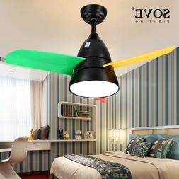 Modern LED 36 Inch Kids Ceiling Fans With Lights Child Ceili