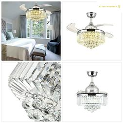 Moooni Dimmable Fandelier Crystal Ceiling Fans with Lights a