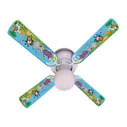 """New BABY KIDS JUNGLE PARTY ANIMALS Ceiling Fan 42"""""""