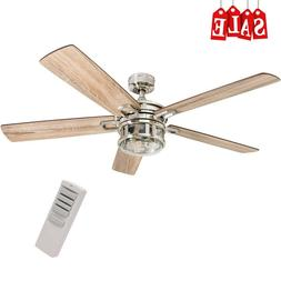 52 in Modern Ceiling Fan with Led Light & Remote Control Sil