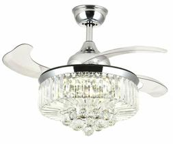 retractable ceiling fans 36 inch crystal invisible
