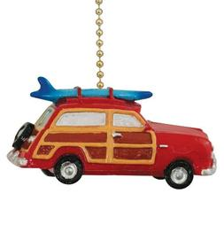 "Retro ""Woody"" Red Surf Wagon Beach Surfing Ceiling Fan Pull"
