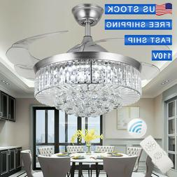 Silver  LED Invisable Ceiling Fan Lamp Crystal Lighting Remo