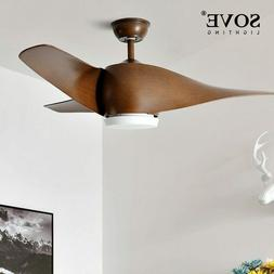 SOVE Brown Vintage Ceiling Fan With Lights Remote Control Ve