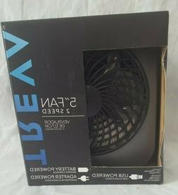 "TREVA/O2COOL Portable Fan,2 Speeds,Blade Diameter 5"" black a"